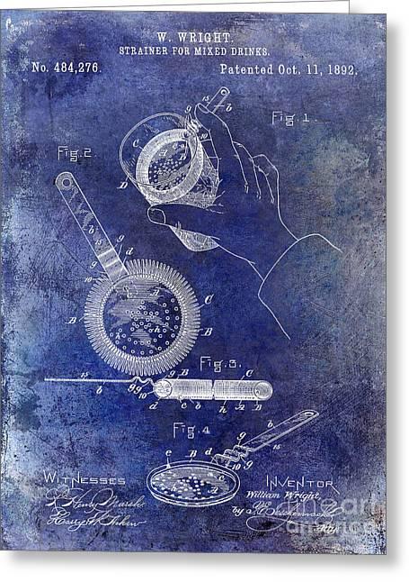1892 Cocktail Mixer Blue Greeting Card by Jon Neidert