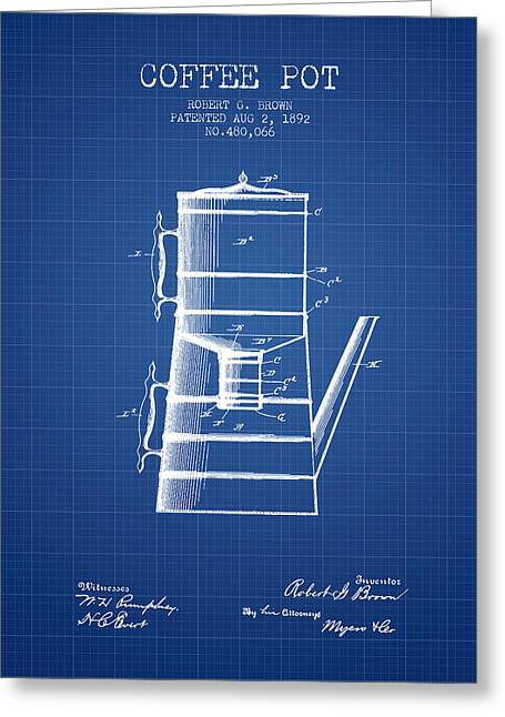 1892 Coffee Pot Patent - Blueprint Greeting Card by Aged Pixel