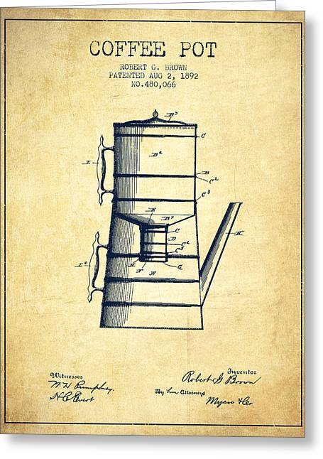 1892 Coffee Pot Patent - Vintage Greeting Card by Aged Pixel