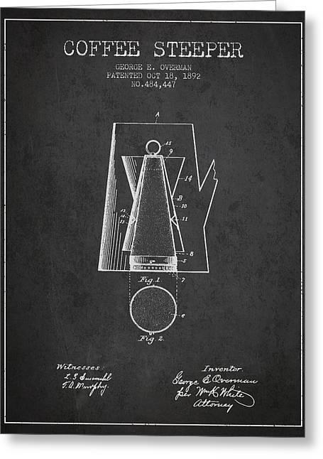 1892 Coffee Steeper Patent - Charcoal Greeting Card by Aged Pixel