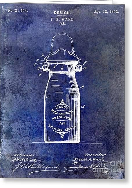 1892 Jar Patent  Blue Greeting Card