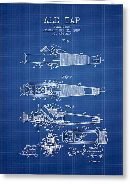 1893 Ale Tap Patent - Blueprint Greeting Card by Aged Pixel