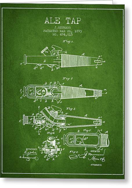 1893 Ale Tap Patent - Green Greeting Card by Aged Pixel