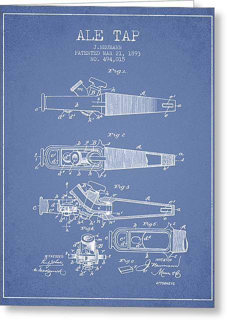 1893 Ale Tap Patent - Light Blue Greeting Card by Aged Pixel