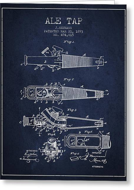1893 Ale Tap Patent - Navy Blue Greeting Card by Aged Pixel