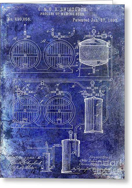 1893 Beer Making Patent Blue Greeting Card