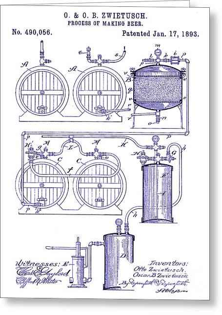 1893 Beer Making Patent Blueprint Greeting Card