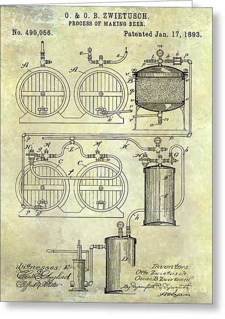 1893 Beer Making Patent Greeting Card