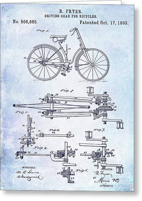 1893 Bicycle Patent Blueprint Greeting Card by Jon Neidert