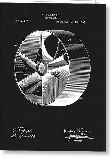 1893 Boat Propeller Patent Greeting Card by Dan Sproul