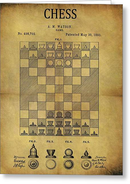 1893 Chess Game Patent Greeting Card by Dan Sproul