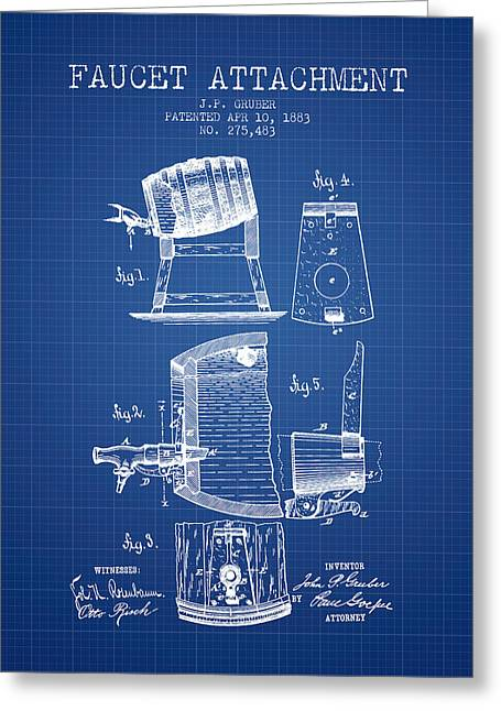 1893 Faucet Attachment Patent - Blueprint Greeting Card by Aged Pixel