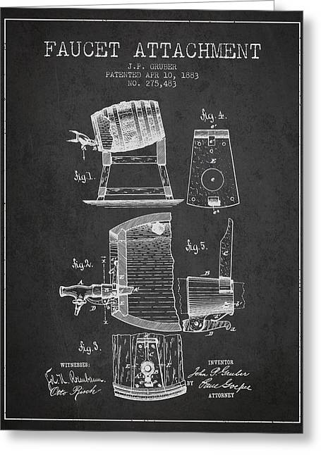 1893 Faucet Attachment Patent - Charcoal Greeting Card by Aged Pixel
