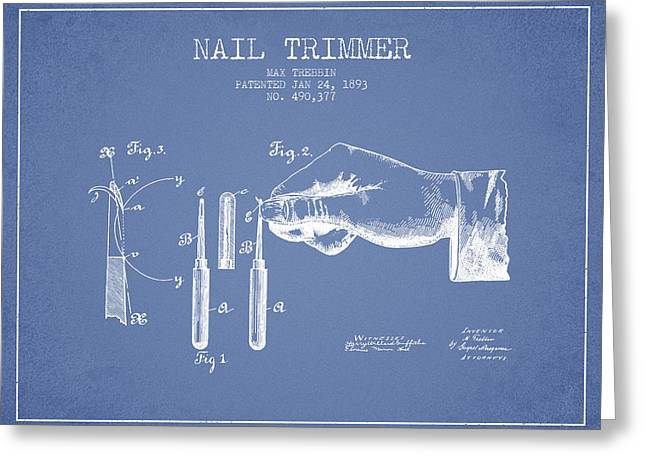 1893 Nail Trimmer Patent - Light Blue Greeting Card by Aged Pixel