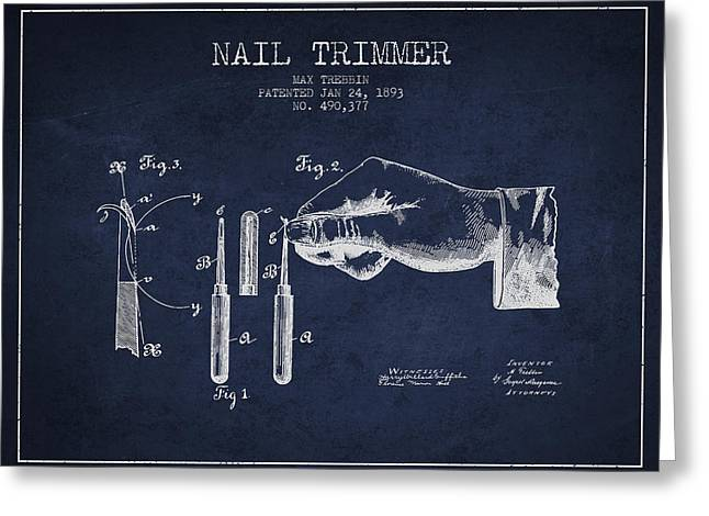 1893 Nail Trimmer Patent - Navy Blue Greeting Card