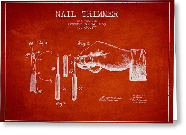 1893 Nail Trimmer Patent - Red Greeting Card
