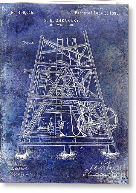 1893 Oil Well Rig Patent Blue Greeting Card
