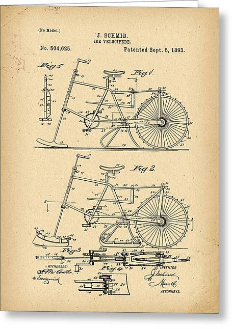 1893 Patent Bicycle Greeting Card