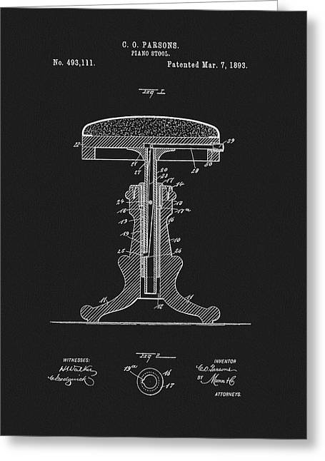 1893 Piano Stool Patent Greeting Card