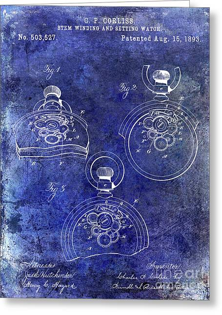 1893 Pocket Watch Patent Blue Greeting Card