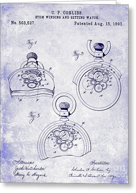 1893 Pocket Watch Patent Blueprint Greeting Card