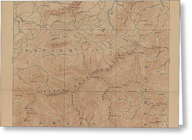 1893 Smoky Mountains National Park Map Greeting Card by Dan Sproul