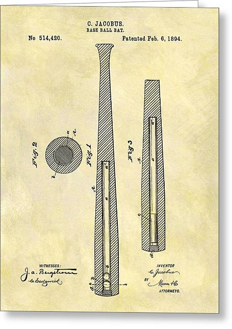 1894 Baseball Bat Patent Greeting Card
