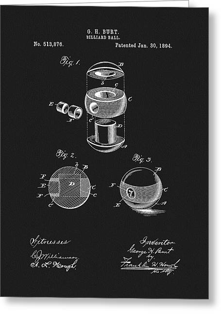 1894 Billiards Ball Patent Greeting Card by Dan Sproul