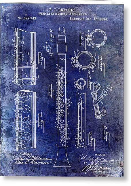 1894 Clarinet Patent Blue Greeting Card by Jon Neidert