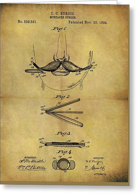 1894 Mustache Curler Patent Greeting Card by Dan Sproul