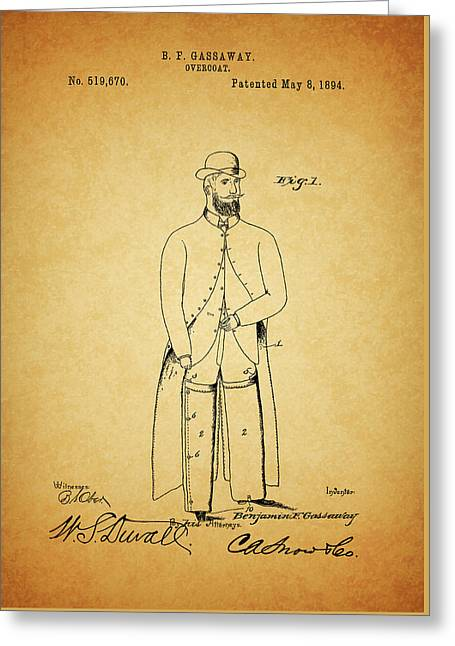 1894 Overcoat Patent Greeting Card by Dan Sproul