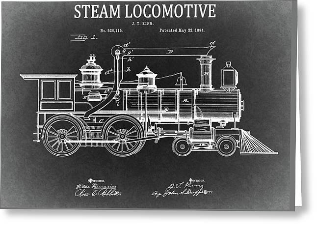 1894 Steam Locomotive Blueprint Greeting Card by Dan Sproul