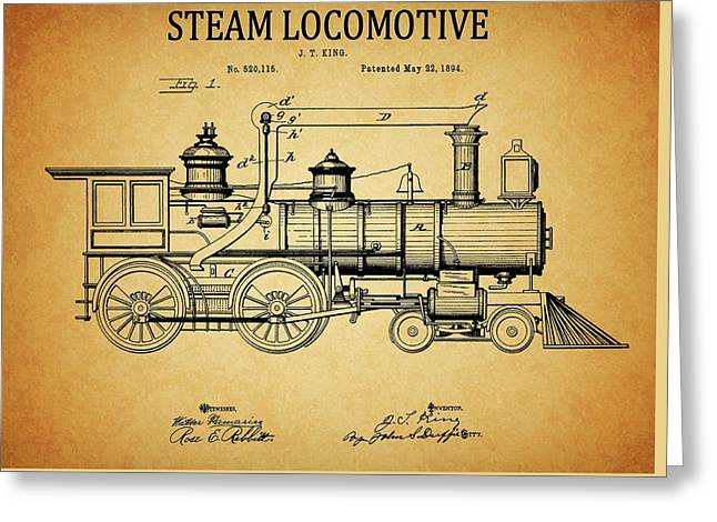 1894 Steam Locomotive Patent Greeting Card by Dan Sproul