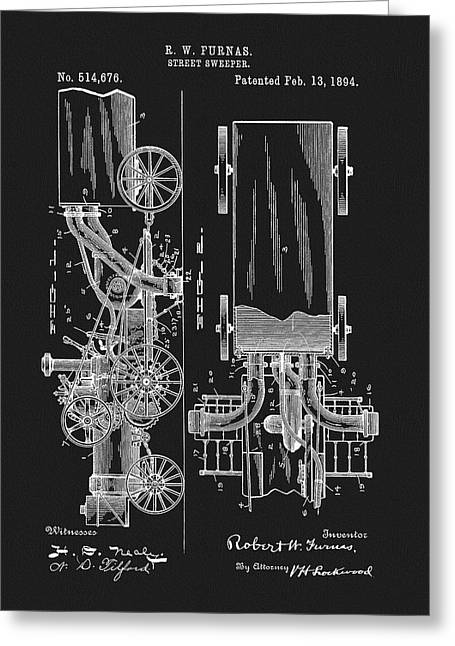 1894 Street Sweeper Patent Greeting Card