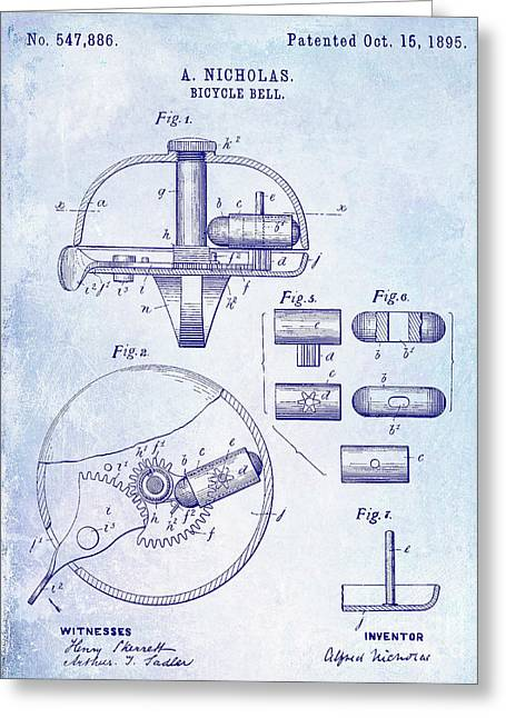 1895 Bicycle Bell Patent Blueprint Greeting Card by Jon Neidert