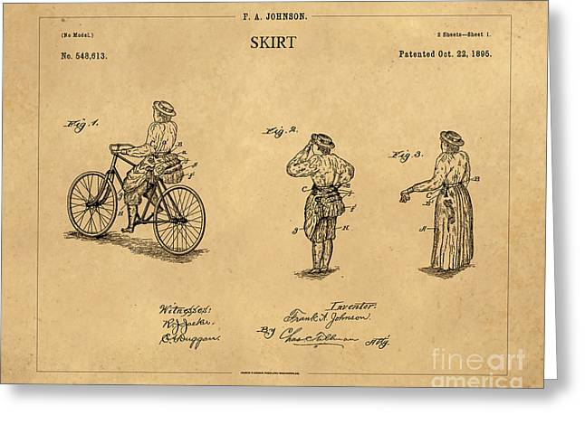 1895 Convertible Bicycle Skirt Patent 1 Greeting Card by Nishanth Gopinathan