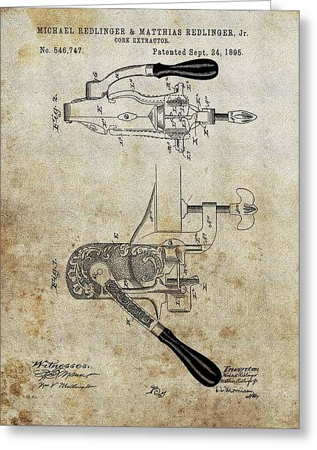 1895 Cork Extractor Patent Greeting Card by Dan Sproul