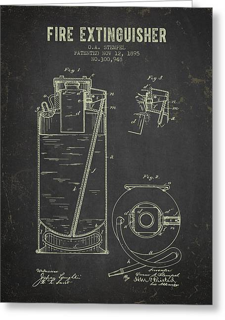 1895 Fire Extinguisher Patent - Dark Grunge Greeting Card by Aged Pixel