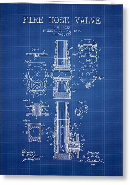 1895 Fire Hose Valve Patent - Blueprint Greeting Card