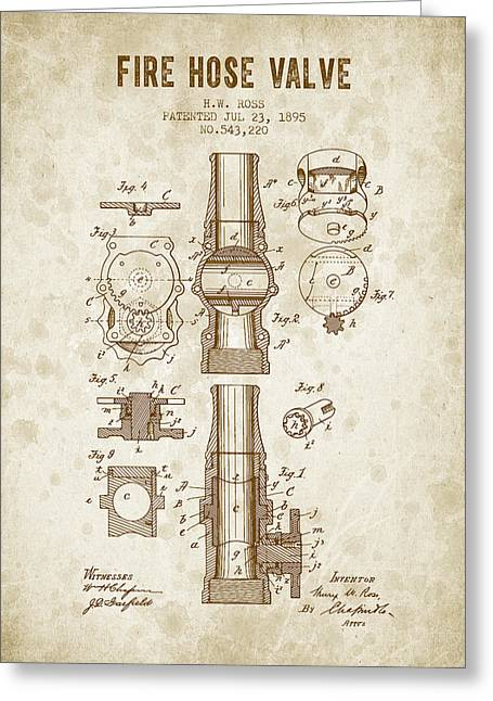 1895 Fire Hose Valve Patent - Vintage Brown Greeting Card by Aged Pixel