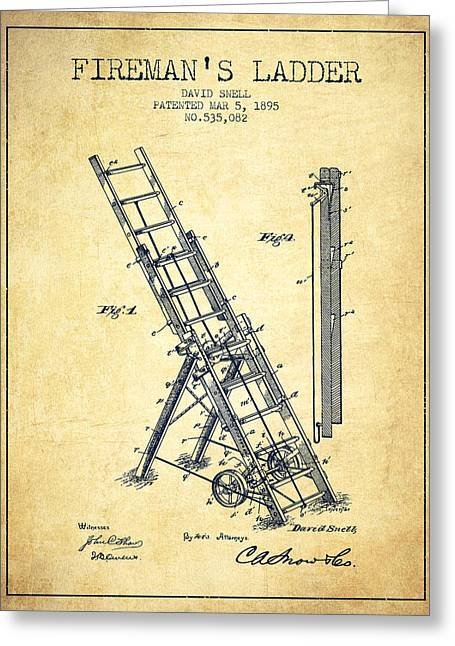 1895 Firemans Ladder Patent - Vintage Greeting Card