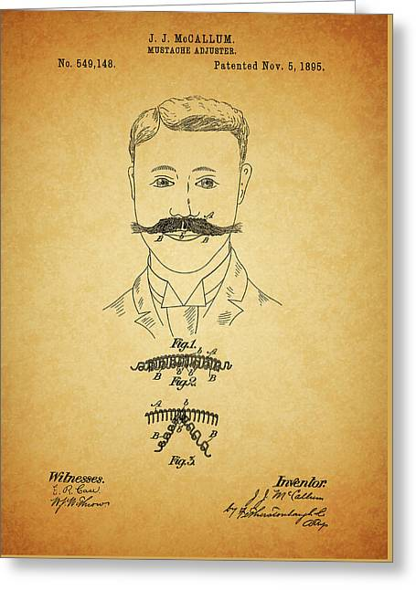 1895 Mustache Adjuster Patent Greeting Card