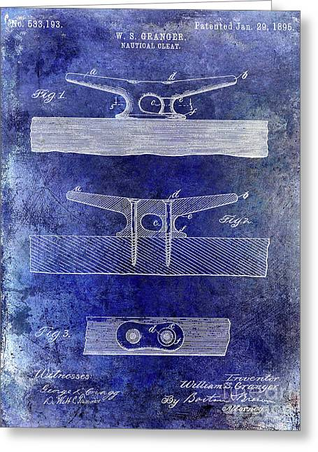1895 Nautical Cleat Patent Blue Greeting Card by Jon Neidert
