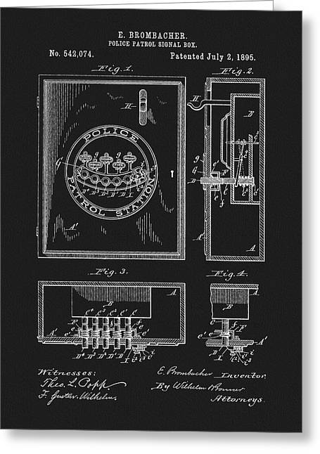 1895 Police Patrol Box Patent Greeting Card by Dan Sproul