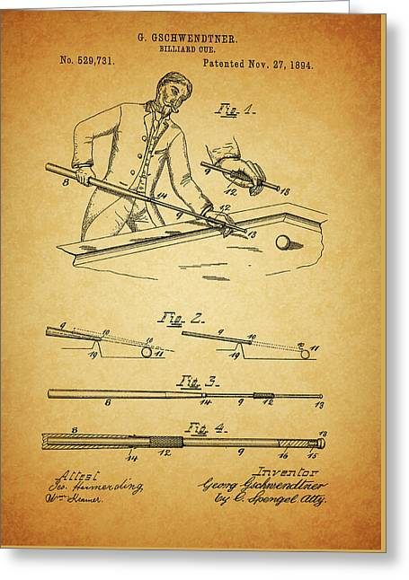 1894 Billiards Cue Patent Greeting Card