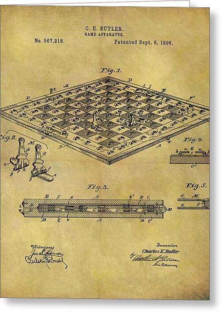 1896 Chess Set Patent Greeting Card