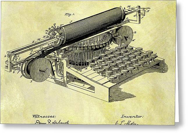 1896 Typewriter Patent Greeting Card by Dan Sproul