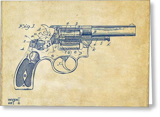 1896 Wesson Safety Device Revolver Patent Minimal - Vintage Greeting Card by Nikki Marie Smith