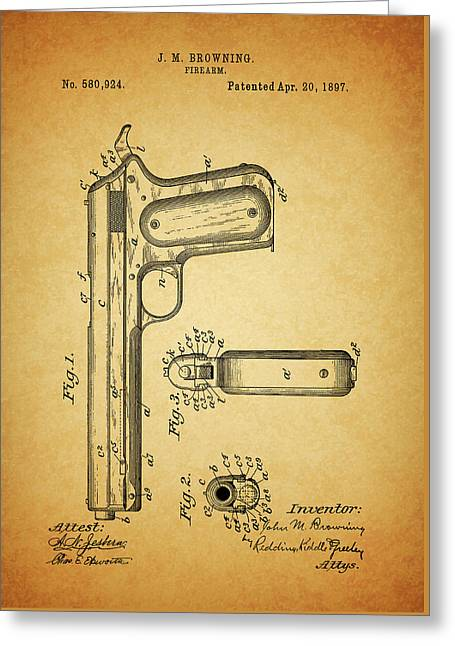 1897 Browning Pistol Patent Greeting Card