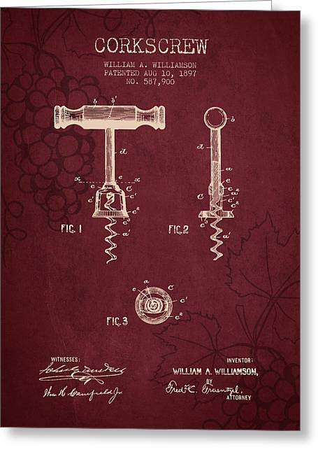 1897 Corkscrew Patent Drawing - Red Wine Greeting Card